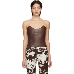 Miaou Brown Faux Leather Leia Corset Top
