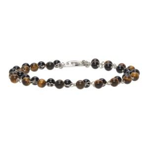 Giorgio Armani Brown and Silver Double Bead Bracelet