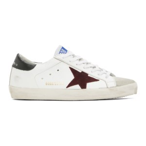Golden Goose White and Burgundy Super-Star Sneakers