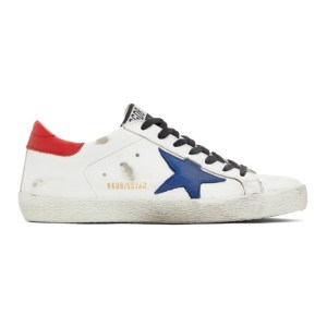 Golden Goose White and Blue Super-Star Sneakers