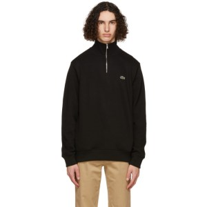 Lacoste Black Zippered Stand Collar Sweatshirt