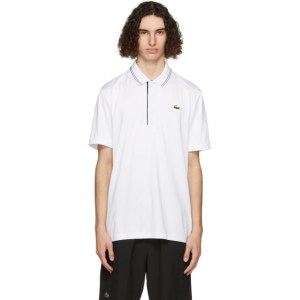 Lacoste White and Navy Sport Signature Breathable Golf Polo