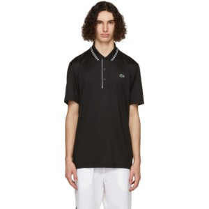 Lacoste Black and White Sport Signature Breathable Golf Polo