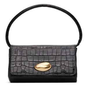 Little Liffner SSENSE Exclusive Black Croc Mini Baguette Bag