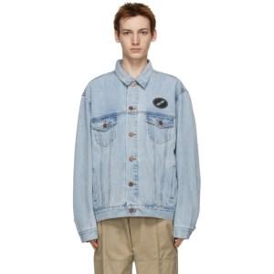 We11done Blue Oversized Denim Jacket