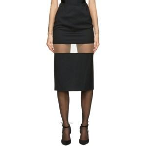 Mugler Black Segmented Mid-Length Skirt