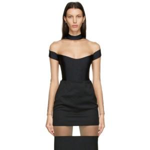 Mugler Black Segmented Long Sleeve Bodysuit