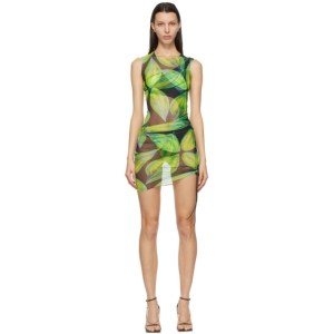 Louisa Ballou Blue and Green Heatwave Ruched Dress