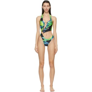 Louisa Ballou SSENSE Exclusive Blue and Yellow Sex Wax One-Piece Swimsuit