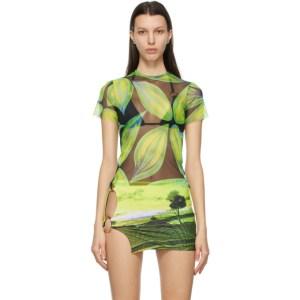 Louisa Ballou Blue and Green Mesh Beach T-Shirt