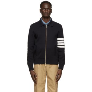 Thom Browne Navy Crepe 4-Bar Bomber Jacket