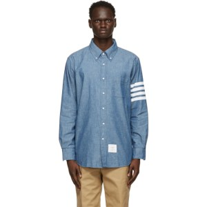 Thom Browne Blue Chambray 4-Bar Straight Fit Shirt