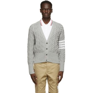 Thom Browne Grey Mohair 4-Bar Aran Cardigan