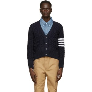 Thom Browne Navy Mohair 4-Bar Aran Cardigan