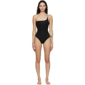 Oseree Black One-Shoulder Lumiere One-Piece Swimsuit