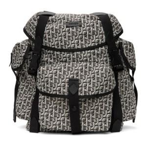 Kenzo White and Black Jacquard Trek Backpack