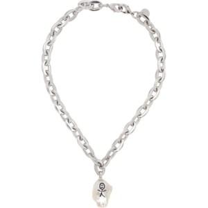 Jiwinaia SSENSE Exclusive Silver Earthling Baroque Pearl Necklace