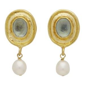 Mondo Mondo Gold and Blue Viva Earrings
