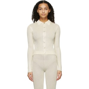 Calle Del Mar Off-White Ribbed Cardigan