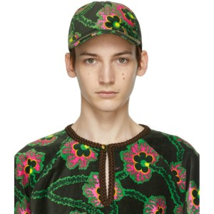 Gucci Black Ken Scott Edition Velvet Floral Cap