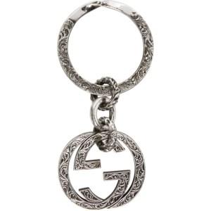 Gucci Silver Engraved Interlocking G Keychain