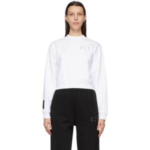 MCQ White Jack Branded Cropped Sweatshirt