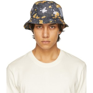 MCQ Grey and Yellow Ripstop Bucket Hat
