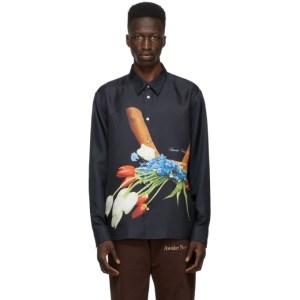 Awake NY Black Silk Flowers Shirt