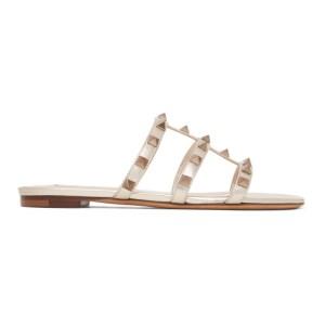 Valentino Gold Valentino Garavani Rockstud Cage Flat Slide Sandals