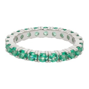 Hatton Labs SSENSE Exclusive Silver and Green Topaz Eternity Ring