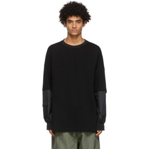 JERIH Black Detachable Sleeves Sweatshirt