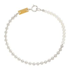 IN GOLD WE TRUST PARIS Silver Pearl Choker Necklace
