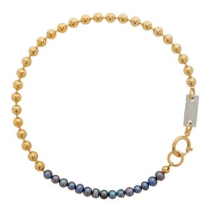 IN GOLD WE TRUST PARIS SSENSE Exclusive Gold and Black Pearl Choker Necklace