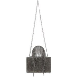 KARA Black Midi Hematite Mesh Fringe Bag