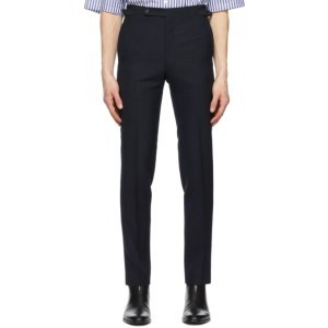 Husbands Navy Fresco Tapered High-Waisted Trousers