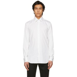 Husbands White and Black Striped Wide Collar Shirt