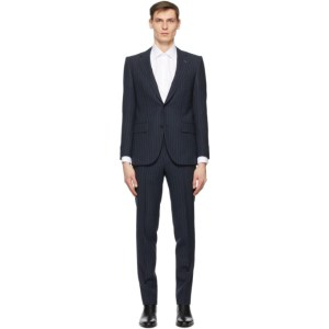 Husbands Navy and Grey Fresco Pinstripe Single-Breasted Suit