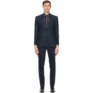 Husbands Navy Linen Single-Breasted Suit