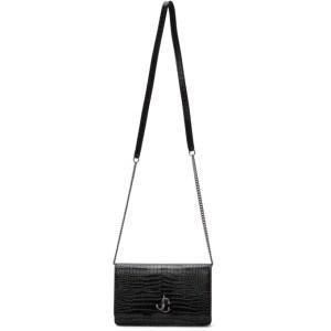 Jimmy Choo Black Croc Palace Shoulder Bag