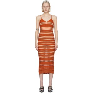 Louise Lyngh Bjerregaard Orange Knit Horizontal Stripe Mid-Length Dress