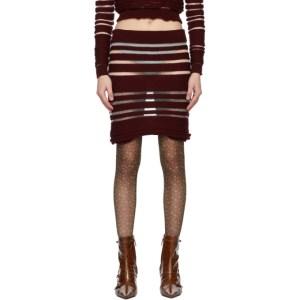Louise Lyngh Bjerregaard Burgundy Knit Stripe Horizontal Miniskirt