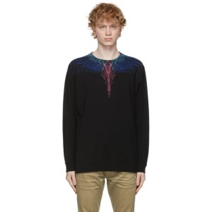 Marcelo Burlon County of Milan Black and Multicolor Wings Long Sleeve T-Shirt