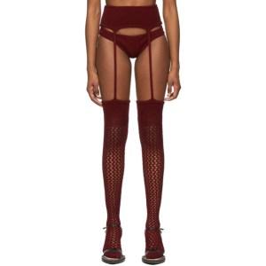 ISA BOULDER SSENSE Exclusive Burgundy Retired Stripper Briefs and Leggings Set