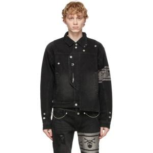 mastermind JAPAN Black C2H4 Edition Denim Asymmetric Layered Jacket