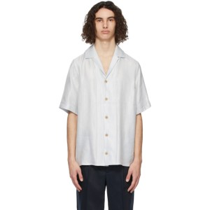 King and Tuckfield Blue Linen Bowling Short Sleeve Shirt