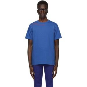 SSENSE WORKS SSENSE Exclusive Jeremy O. Harris Blue Cursive Text T-Shirt