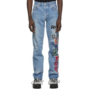 ROGIC Blue Embroidered Jeans