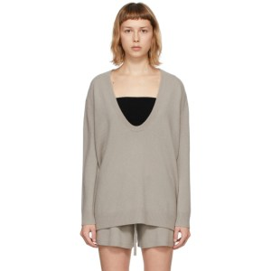 Lisa Yang Taupe Cashmere The Lori V-Neck Sweater