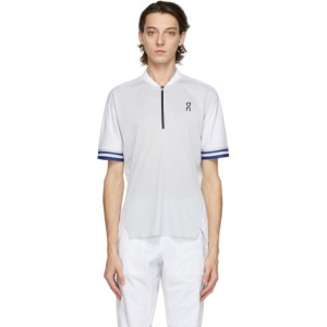 On White Clubhouse Polo Zip-Up T-Shirt