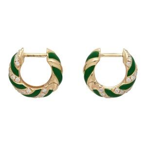 Yvonne Leon Gold and Green Twisted Enamel Earrings
